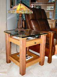 Easy Table Plans Oak Glass Display Top End Table Small Wood Projects Coffee