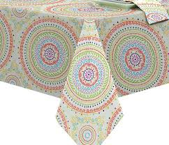 indoor outdoor tablecloth circle stitch contemporary print soil resistant fabric round