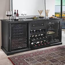 Cabinet With Wine Cooler Siena Wine Credenza Nero With Wine Refrigerator Wine Enthusiast
