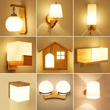 New Designmodern Wooden Wall Lamp Lights For Bedroombathroom Home Lighting Wall Sconce Solid Woodglass Aisle Wall Lighting In Wall Lamps From