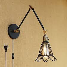 kiven retractable wall lamp double wall type sconces attic style old coffee indoor light wire lamp shade switch lamp included 1 light