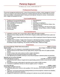 Purchase Resume Template New Professional Procurement Manager