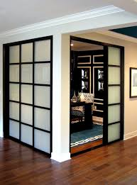 wall slide doors laminated glass black frame