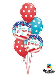 Red And Blue Happy Birthday Balloon Bouquet