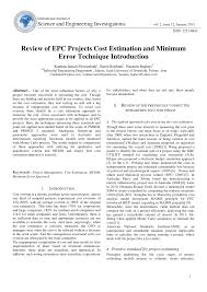 How To Prepare An Estimate Pdf Review Of Epc Projects Cost Estimation And Minimum