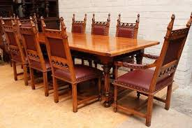 antique french oak dining table and chairs. antique oak dining set french gothic room, big table, 8 chairs 19th c table and k