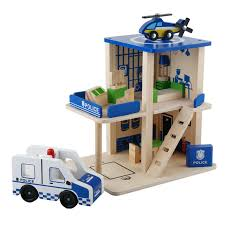 deluxe wooden dollhouse play set diy miniature project kit police station