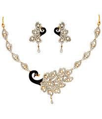 anjali jewellers golden blue american diamond necklace set