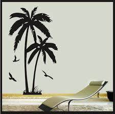 hawaiian wall decals palm tree with birds wall art vinyl sticker decal wall beach decor tropical hawaiian wall