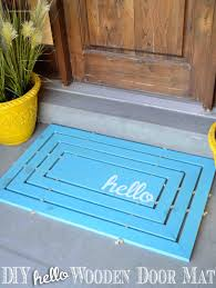 diy hello wooden door mat