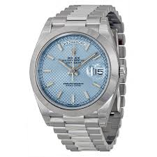 rolex president usa rolex day date ice blue diagonal motif dial platinum president automatic mens watch 228206 photo