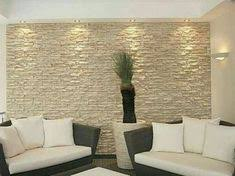 Interior Stone Veneer For The Public Area Of The House: Interior Stone  Veneer Cream Stone Wall Black Sofas White Seating Pads White Carpet