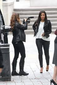 kim kardashian leather jacket white peplum top leather pants