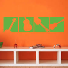 yellow green guitar silhouette wall decal set