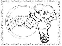 Dora Playing Catch With Her Dog In The Explorer Coloring Page Pages