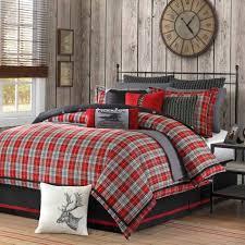 red grey black cabin bedroom