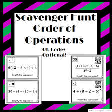 order of operations scavenger hunt qr codes optional students will simplify an expression using