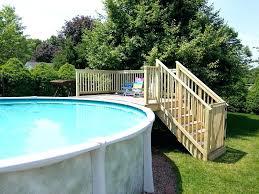 image of above ground pool dog ladder