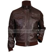 slim fit er dark brown leather jacket mens