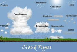 types of clouds with descriptions. this is a chart that shows the many common cloud types. they are shown very close to what actually look like, and their heights accurate. types of clouds with descriptions
