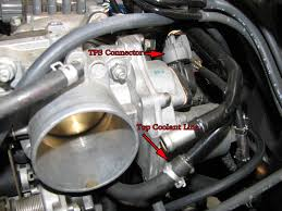 throttle position sensor tps replacement howto throttle body removal this is pretty straightforward 4 nuts 3 wire connectors 2 coolant lines 1 vacuum line and the throttle cable if i m remembering