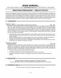 Maintenance Resume Cover Letter Supervisor Building Facility