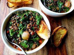 red wine braised lentils with spinach giveitsomethyme this hearty stew is chock