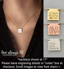 Personalized Square Necklace Mom Gift Monogram Necklace Coordinates Necklace Kids Names Necklace New Mom Necklace Christmas Gift