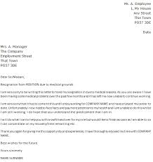 Resignation From The Company Letter Of Resignation Due To Medical Reasons Icover Org Uk