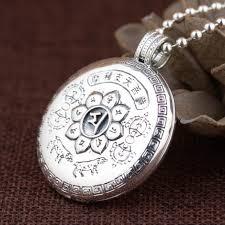 dropwow 990 sterling silver six words mantra pendant openable engraved buddha figure vintage locket prayer box