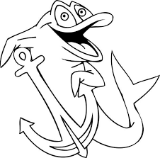 600x593 dolphin got an anchor of a boat coloring page