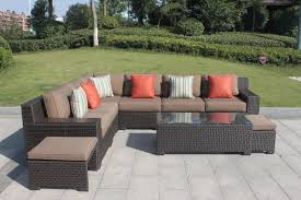 for higreen outdoor kingston 9 piece patio wicker sectional furniture sofa set canvas cocoa brown with sunbrella cushions no assembly required at