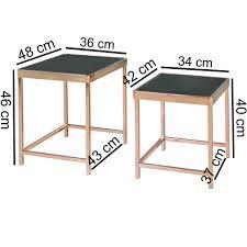 Design Couchtisch Paris Glas Kupfer Beistelltisch 2er Set