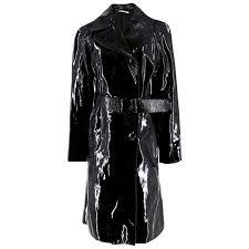 prada patent leather xs trench coat black