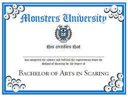 University Diplomas Templates Monsters University Diploma Party Printable Automatic Delivery