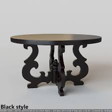 french country round dining table 3d model max fbx 1