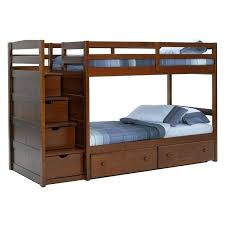 wooden bunk beds with stairs pine ridge front loading stair bunk bed chocolate twin over twin