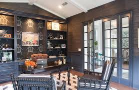 wallpapered office home design. Dark Gray Home Office With Black Beetle Wallpaper Wallpapered Design
