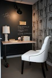 home office den ideas. View In Gallery Beautiful Home Office With Chalkboard Wall And Fornasetti Wallpaper [Design: The Cross Interior Design Den Ideas