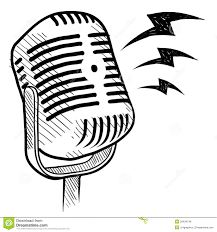 Old microphone vector illustration isolated on pictures