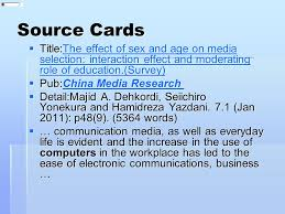 writing the synthesis essay ppt video online  source cards title the effect of sex and age on media selection interaction effect