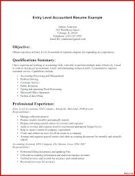 Sample Accounting Resume Objective Entry Level Accountant Resume Sample Oktimepieces Co