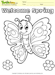 Welcome Spring Butterfly Coloring Page Kids