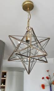 Glass Pendant Light Fixture Antique Brass Star Lantern