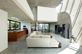 furniture for modern living. Modern Concrete Living Room With Large White Sofa In Open Concept Design Furniture For