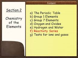 IGCSE CHEMISTRY SECTION 2 LESSON 4. Content The iGCSE Chemistry ...