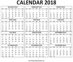 2018 Calendar Printable 12 Months Calendar On One Page