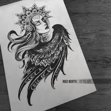 девушка арт эскизтату тату графика чб рисунок Art Tattooart