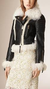 black leather biker women white fur jacket