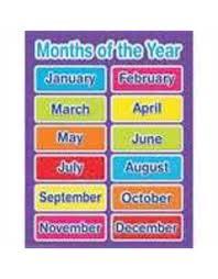 Learning Chart Color My World Basic Learning Months Of The Year Chart
